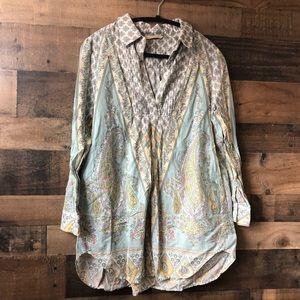 Soft Surrounding Pastel Paisley Print Tunic Blouse